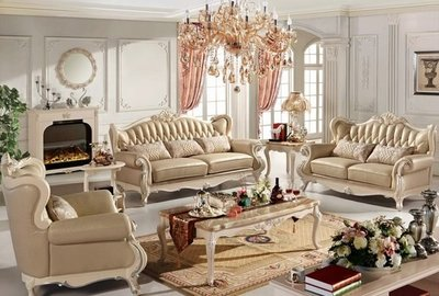 【大熊傢俱】A21 法式 牛皮沙發 歐式沙發 木沙發 新古典沙發 1+2+3人座 另售 茶几