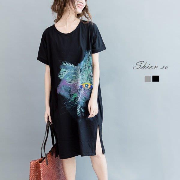 享瘦衣身中大尺碼【B7103】暈染圖騰串珠口袋長版上衣&洋裝二穿款