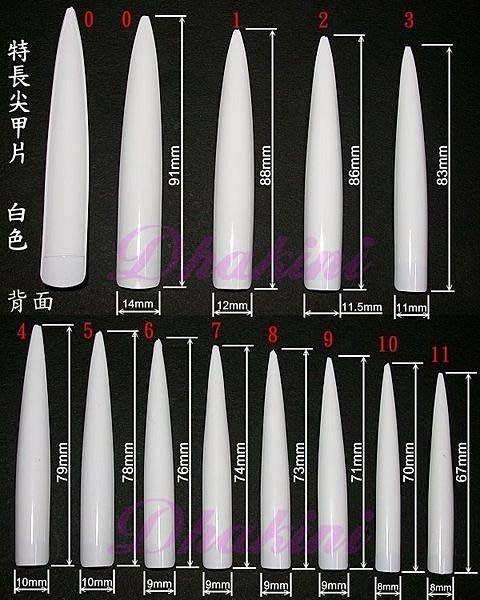 超酷喔~造型展示/ 競賽 專用~《特長尖甲片》~(12片裝)有白色、自然色及透明等三種喔