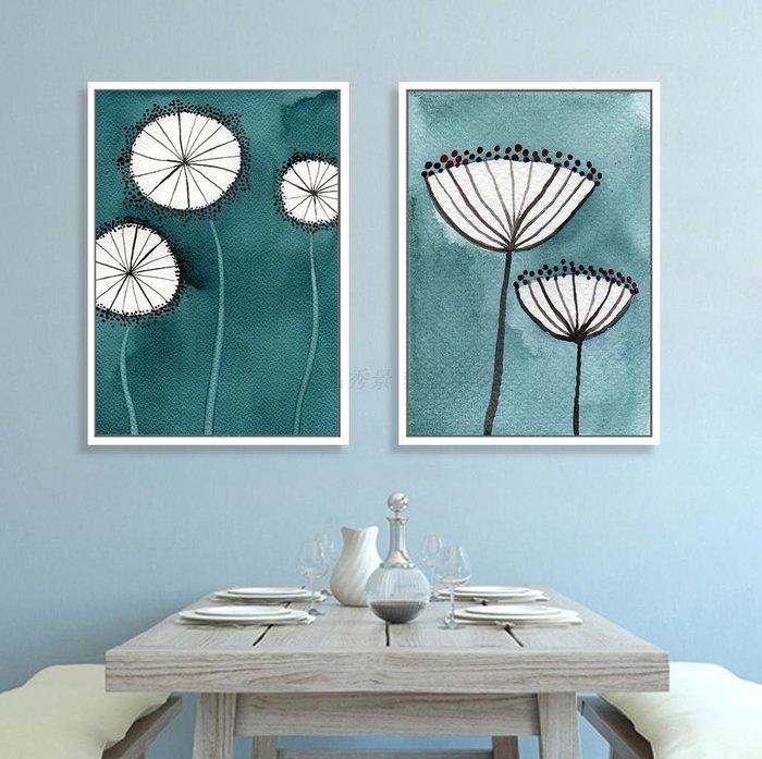 現代復古美式抽象藝術花卉裝飾畫畫芯客廳餐廳掛畫(2款可選)