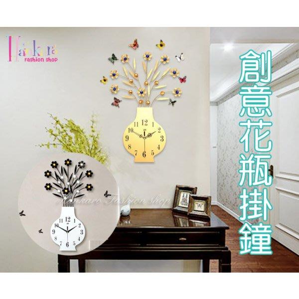 歐美流行創意鐵藝木質鑲鑽花瓶造型時鐘