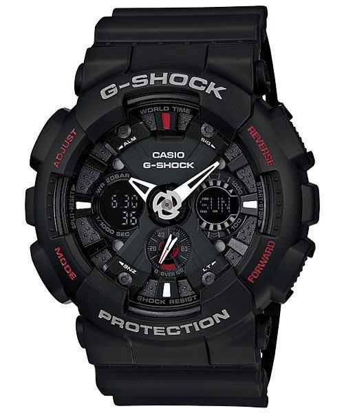 【金台鐘錶】CASIO卡西歐G-SHOCK耐衝擊 多層次錶盤 黑蜘蛛人GA-120-1A