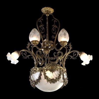20世紀初法國飛龍水晶玻璃吊燈/古董燈...