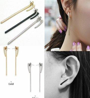 【小么杂货】韩国进口月牙长硬棍2戴 前后 后挂式 个性耳钉 耳环 耳针 2色(现货)A006(399)