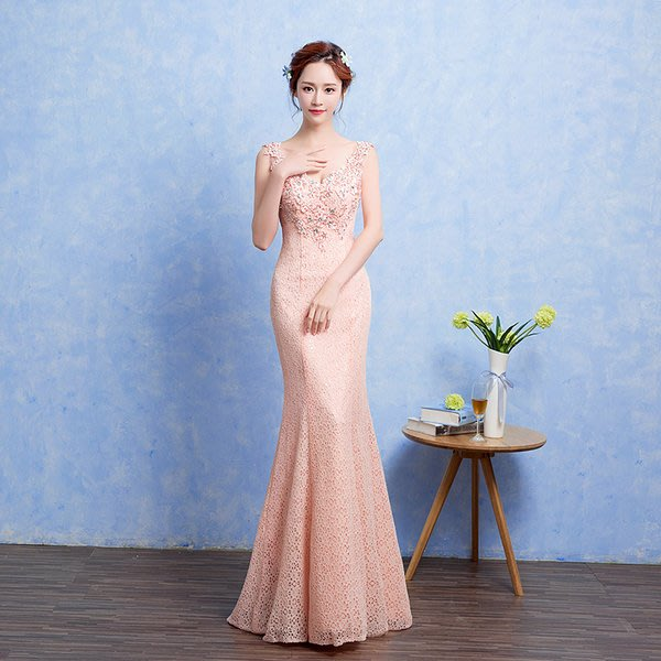 【曼妮婚紗禮服】3件免郵~結婚 宴會 時尚修身顯瘦魚尾款長禮服~D095
