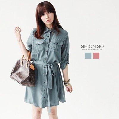 享瘦衣身中大尺碼【B1541】名媛風反折袖綁帶洋裝
