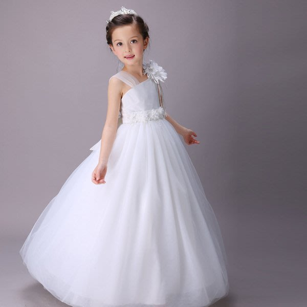 【Kathie Shop】夏季兒童禮服長款蓬蓬裙花童演出服婚紗拖尾公主連衣裙小禮服