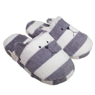 尼德斯Nydus~* 日本正版CRAFTHOLIC 宇宙人 抗寒專區 保暖小物 拖鞋 灰色條紋熊 free size