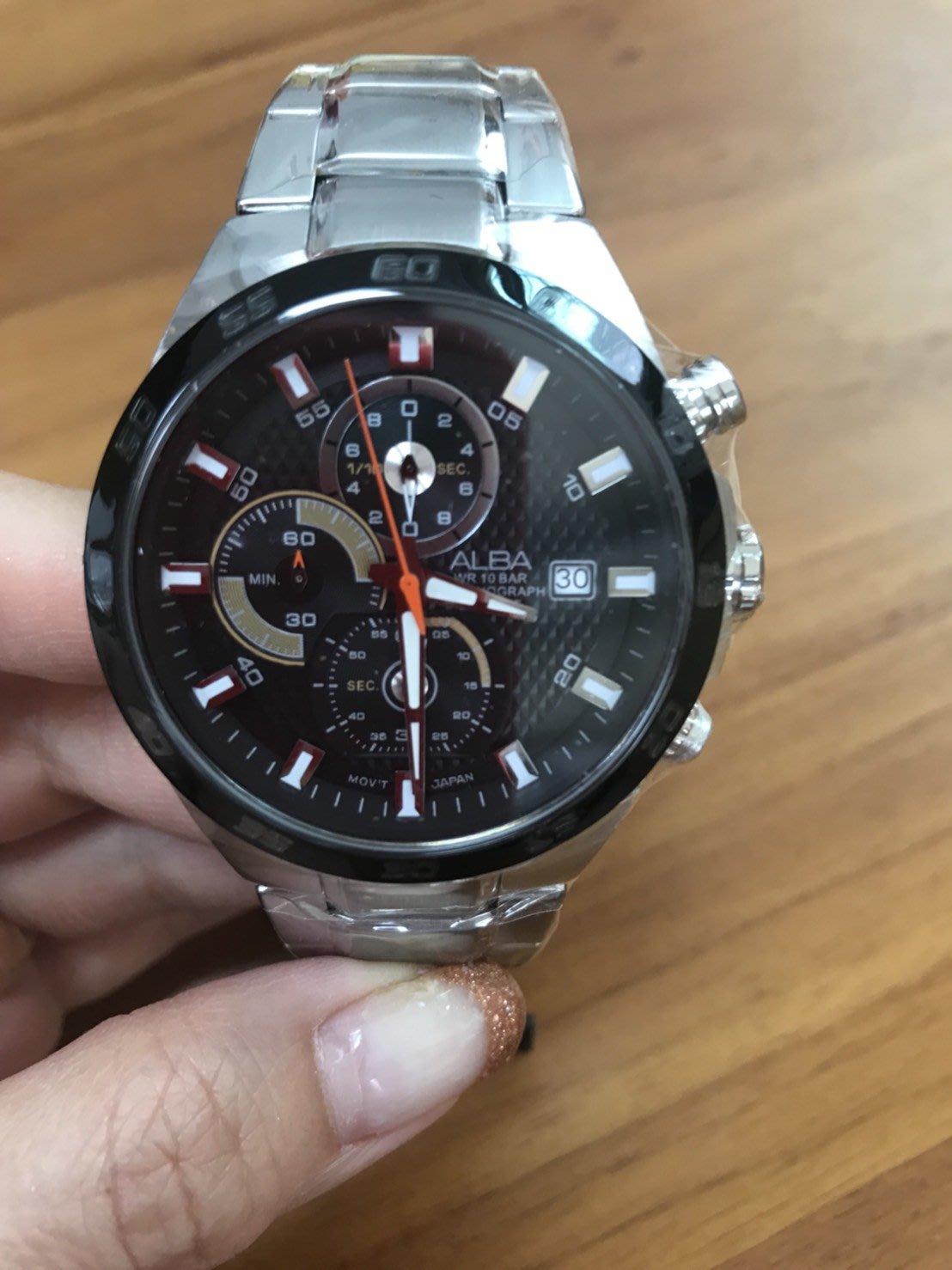 ALBA ACTIVE 酷型男計時腕錶-黑/44mm VD57-X080D