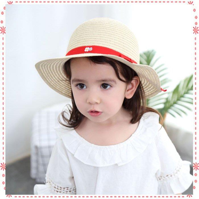 貝克比比屋☆ 歐單小女孩紅色蝴蝶結緞帶 草編大帽緣遮陽帽*48cm、50cm、52cm、54cm