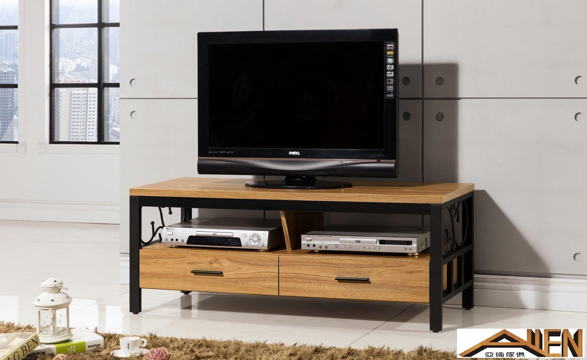 亞倫傢俱*尼克浮雕木紋4尺電視櫃