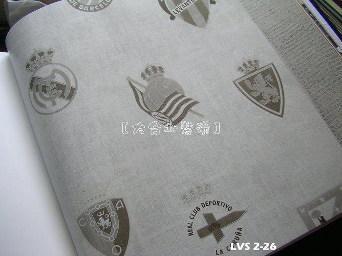 【大台北裝潢】LVS2進口平滑面純紙壁紙* 單色 足球俱樂部徽章(2色) 每支1650元