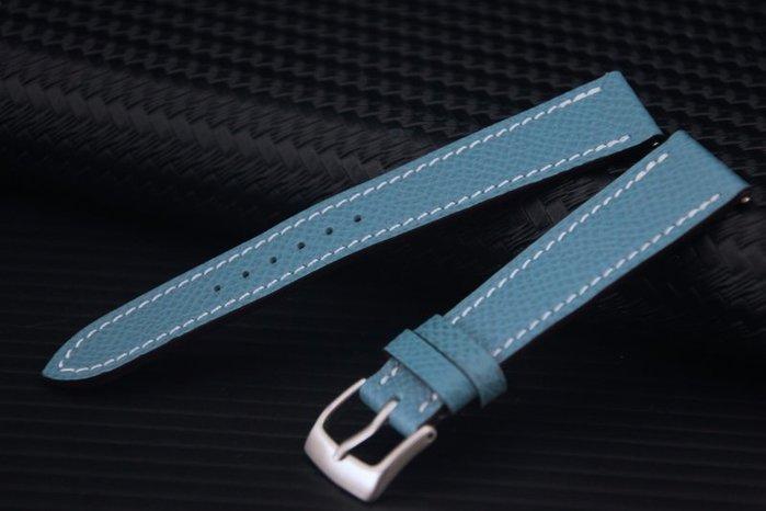 艾曼達精品~16mm 高質感進口皮料愛馬仕替代用表帶,搭配快拆彈簧棒~藍色