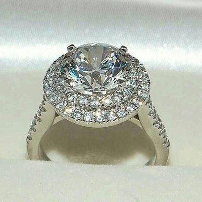 雙環微鑲結婚鑽戒高碳鑽女款2克拉適合莫...
