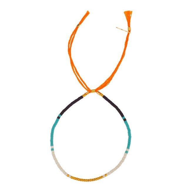 SHASHI孫芸芸款ShopSmart直營店 紐約品牌 SAM 彩色流蘇手鍊 亮橙色 幸運