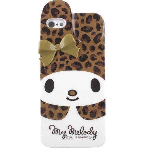 尼德斯Nydus~* 日本正版 Melody 美樂蒂 軟殼 手機殼 iphone5 5S 立體蝴蝶結 -咖啡豹紋