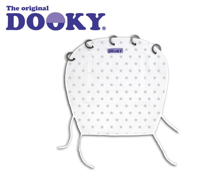 荷蘭Dooky 魔法斗篷 抗UV紫外線 嬰兒車 提籃 汽車座 萬用遮簾 .遮陽  銀白星星-現貨