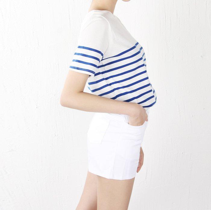 Girlmonster韓國連線 正韓 清新感 半橫條短袖棉T 短袖上衣 (藍條紋/黑條紋) 【T102038】