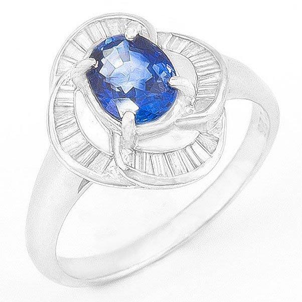 【JHT 金宏總珠寶/GIA鑽石專賣】1.34ct天然藍寶造型鑽戒/材質:PT900(S00014)