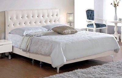 【DH】貨號G174-4《伊尼》5尺白色水鑽雙人床架˙可拆賣˙質感一流˙流暢曲線˙主要地區免運