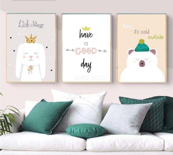 ins現代簡約動物卡通節日使用裝飾畫畫芯兒童房掛畫(3款可選)