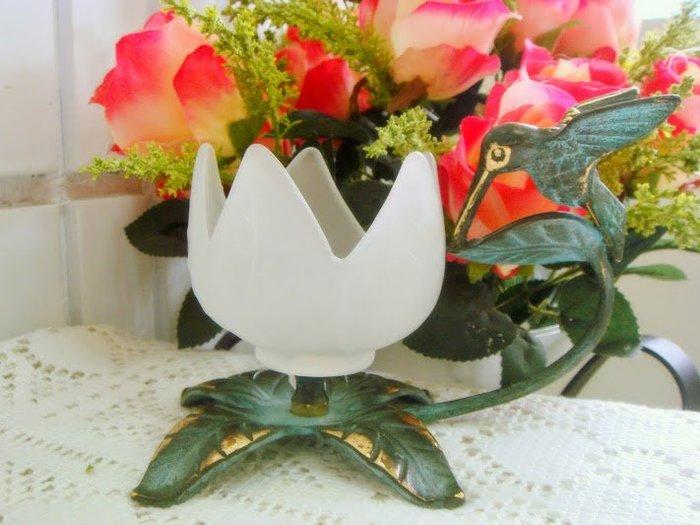 ~蘇菲亞精品傢飾~外貿美歐商品復古青銅色蜂鳥燭台