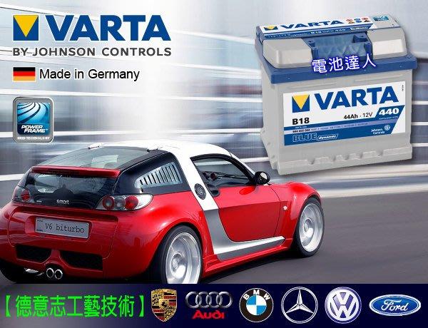 ~高雄鋐瑞電池~德國華達VARTA汽車電池B18 藍色動力德國電池 54801 SMART