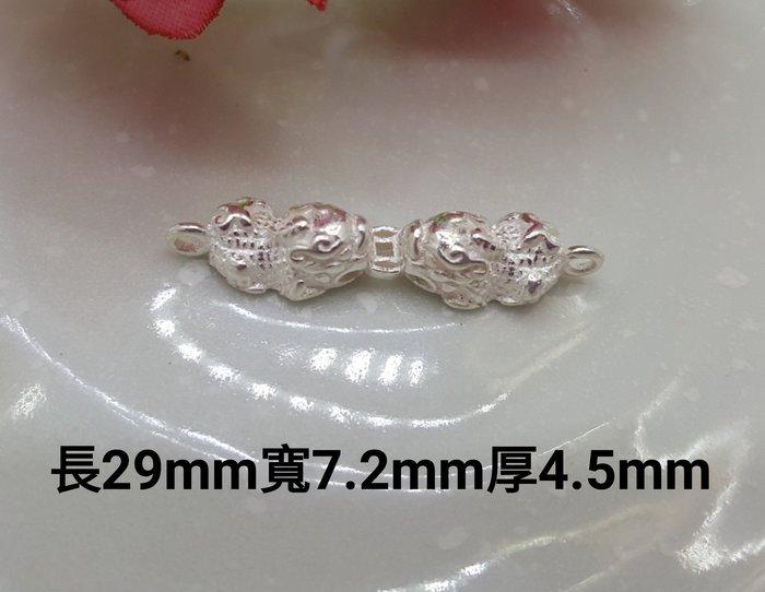 925純銀diy飾品 招財辟邪貔貅雙圈 編織串珠材料手鏈配飾