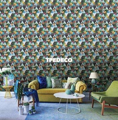 【大台北裝潢】PT馬來西亞現貨壁紙* 環保建材 夏日水彩 天堂鳥花三角幾何(4色) 每支580元