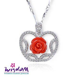 威世登 珊瑚銀墜-天然海洋紅珊瑚 蘋果紅玫瑰墜飾(不含鍊)-情人禮、生日禮、流行款、熱銷款-CD00101-DDEX