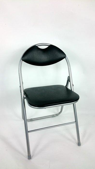 [兄弟牌休閒傢俱]卡羅有背折疊椅(黑色)~PVC+泡棉靠座墊,折疊椅會議說明會,營業用、居家客飯廳收納便利