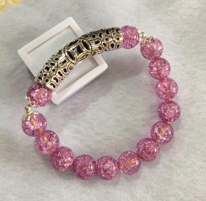 珍奇翡翠珠寶首飾-手鍊系列-高品質,冰爆紫晶搭配925銀招財金錢彎管,珠子直徑10mm. 賣家設計款。回饋買家,便宜賣