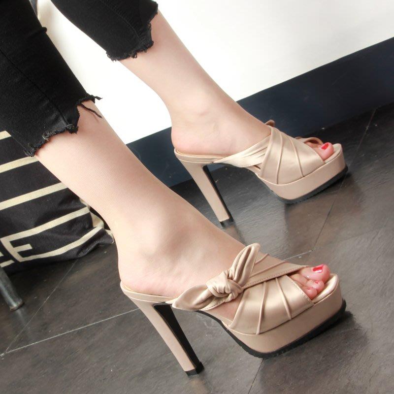 H.G.M 拖鞋 高跟涼鞋 蝴蝶結粗跟魚口厚底拖鞋時尚性感涼鞋 拖鞋 5-21