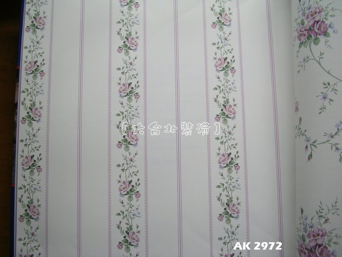 【大台北裝潢】AK進口平滑面純紙壁紙* 鄉村風直條花藤(5色) 每支1800元