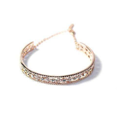 NATELA 韓國新款 時尚設計 鏤空水鑽鋯石四葉草 手鐲手環 鍍真金 飾品 熱賣 折扣女飾品