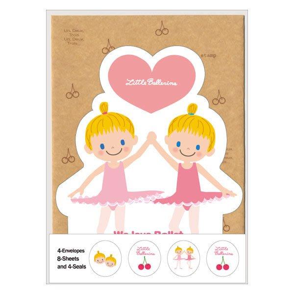 芭蕾小棧生日畢業表演禮物日本進口Little Ballerina可愛文具信封信紙組MEMO雙人舞者
