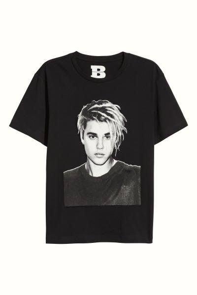 H&M Justin Bieber 小賈 Purpose Tour Staff 人像 短袖 T恤 黑色 S號 M號