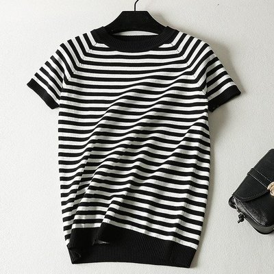 【An Ju Shop】外單 韓國範 夏款 百搭修身打底黑白條紋冰絲針織衫短袖上衣~OE233904