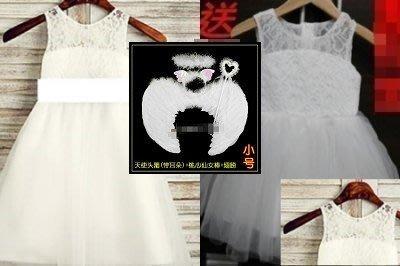 女童公主裙演出服蓬蓬裙花童婚舞蹈服表演服出清90碼約80~85CM穿,萬聖節4件套(裙+3件套翅膀)☆百變花 yang☆