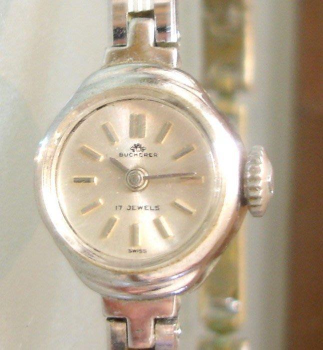 免電池 瑞士Bucherer 女性純銀色 素雅款 機械手上鍊 鋼帶錶 絕版真品