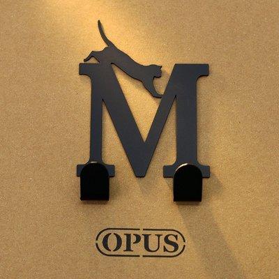 當貓咪遇上字母M 《經典黑》2017聖誕禮物 壁飾掛勾 造型無痕掛鉤 交換禮【OPUS東齊金工】HO-ca10-M(B)