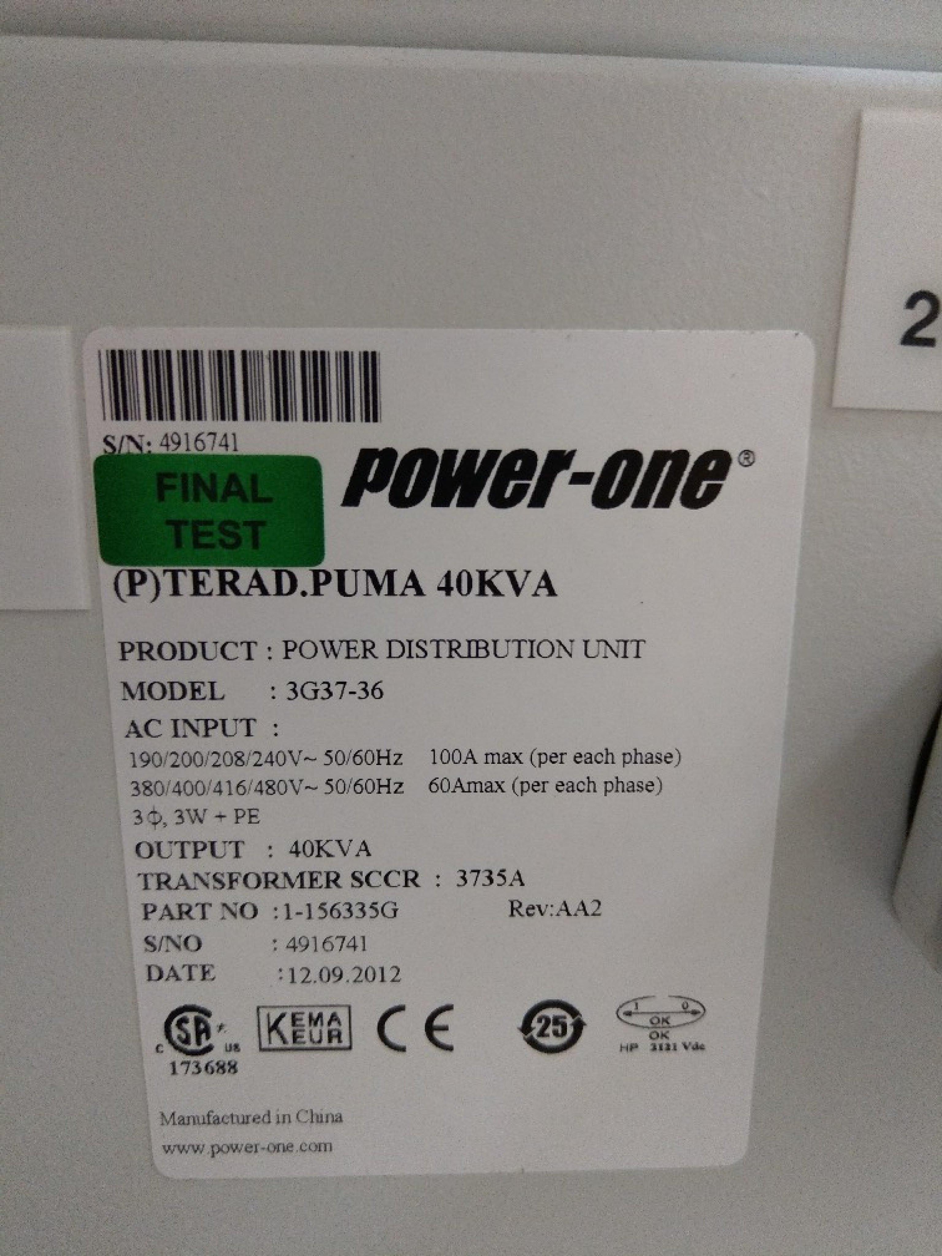 精密機台專用UPS    POWER-ONE 40KVA     Model:3G37-36