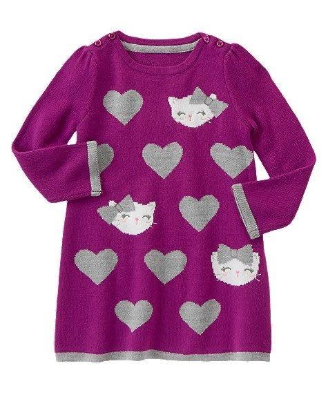 美國GYMBOREE正品 Kitty Heart Dress Kitty愛心毛衣連身裙洋裝