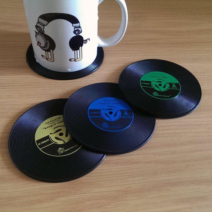 清倉特價5折- 唱片造型杯墊一組兩入