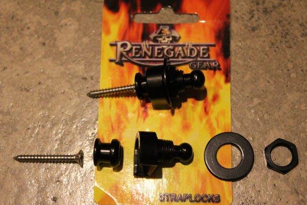 【六絃樂器】全新澳洲品牌 Renegade 黑色安全背帶扣+造型鐵環 / 現貨特價