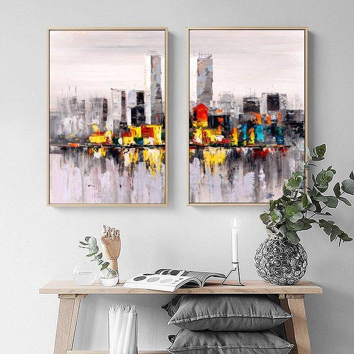 歐式風景海景抽象城市建築大樓裝飾畫(2款可選)