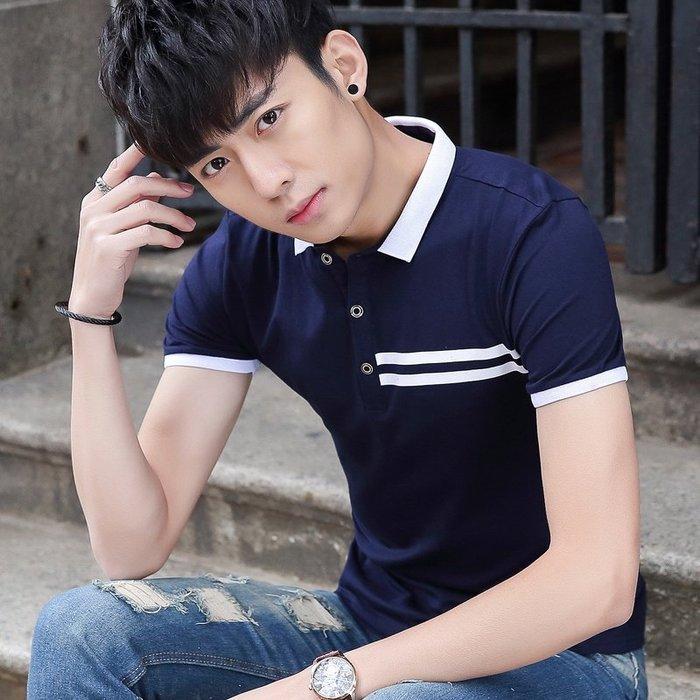 【現貨】KN8839#青年夏季男裝休閒翻領短袖T恤韓版翻領polo衫