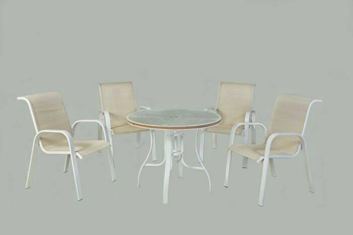 [兄弟牌戶外休閒傢俱]鋁合金中背紗網椅4張+90cm鋁製編藤庭院桌/餐椅,一桌四椅組合~BROTHER庭園休閒傢俱!!