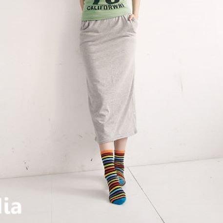 內搭專賣*台灣製MIT抽繩鬆緊腰素色棉質口袋長裙窄裙【JC648】
