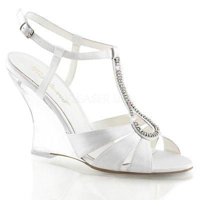 Shoes InStyle《四吋》美國品牌 FABULICIOUS 原廠正緞面水鑚透明楔型高跟涼鞋 有大尺碼出清『白色』